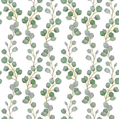 Naklejka Boho Watercolor seamless pattern of eucalyptus branches. Hand-drawn botanical illustration.