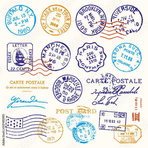 Photo Vintage Postmark Stamp Vector Set