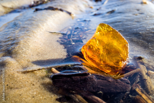 Fotografie, Tablou amber in the Wadden Sea in Cuxhaven, Germany
