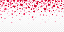Red Confetti Hearts Falling. Heart Confetti Falling On Transparent Background. Valentines Day Background. Valentine Day Flat Style - Stock Vector.
