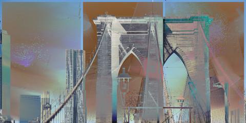 Fototapeta Mosty NY Brooklyn Bridge. Modern art
