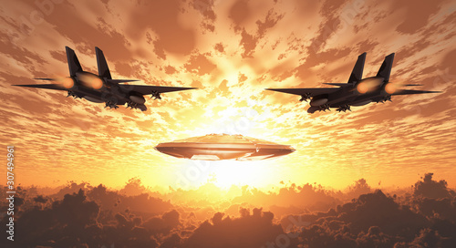 Military Jets Pursue UFO. Sunset or sunrise Canvas Print