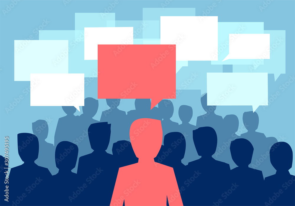 Fototapeta Vector of a people crowd communicating with one person having a different opinion
