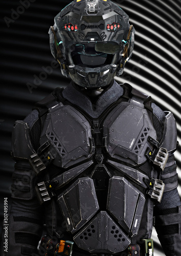 Portrait of a masked futuristic armored sci fi soldier with a studio background Wallpaper Mural