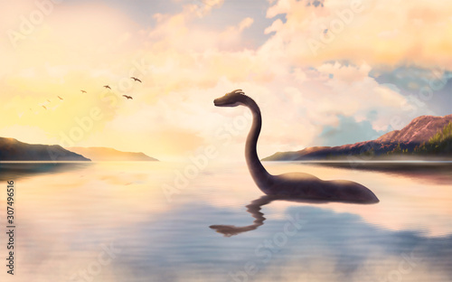 Fotomural  The Loch ness monster looks at the birds at sunset.