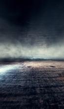Fondo De Habitación Oscura Con Suelo De Cemento.Niebla O Humo Iluminado Por Luz Del Foco.