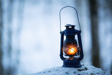 Lantern At Dark In The Forest ...