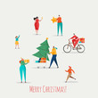 Merry Christmas, The New Year, Happy Holidays concept for greeting cards. Family with children decorate Christmas tree and prepare gift boxes outdoors. Vector illustration in cartoon design