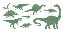 Vector Set Bundle Of Green Hand Drawn Doodle Sketch Dinosaurs Isolated On White Background