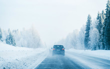Car On Winter Road With Snow I...
