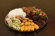 Assortment Of Freshly Baked Christmas Cookies Of Various Flavors
