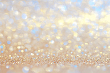 Colorful Bokeh Gold,yellow,blue Abstract Shining Lights,sparkling Glittering Valentines Day,women Day Or Event Lights Romantic Backdrop.Blurred Christmas Light Or Season Greeting Background.