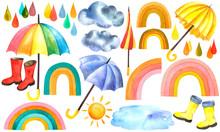 Watercolor Set Of Umbrellas, R...