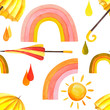 Watercolor seamless pattern with umbrellas, sun, drops on an isolated white background, watercolor stock illustration. Fabric wallpaper print texture.