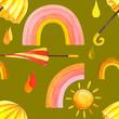 Watercolor seamless pattern with umbrellas, sun, drops, watercolor stock illustration. Fabric wallpaper print texture.
