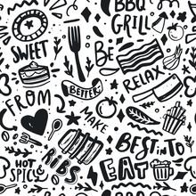 BBQ Menu Seamless Pattern Design, Food Barbeque Vector Background. Doodle Illustration With Lettering