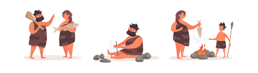 Collection of stone age people on an isolated white background. Primitive people get food and fire, fry food at the stake. Vector illustration in a flat cartoon style.