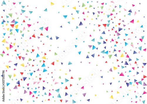 Fototapeta Festive color triangle confetti background. Abstract frame confetti texture for holiday, postcard, poster, website, carnival, birthday, children's parties. Cover confetti mock-up. Wedding card layout obraz na płótnie