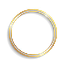 Golden Circle Double Frame With Shadows And Highlights Isolated On A White Background.