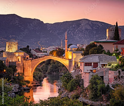 In de dag Aubergine Amazing Mostar Bridge in sunset colors