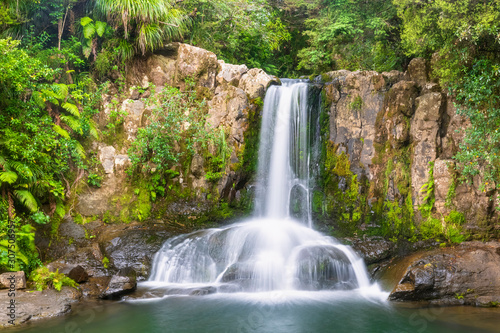 New Zealand, North Island, Waikato, Waiau, scenic view of waterfall - 307506957