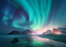 Aurora Borealis Over The Sea A...