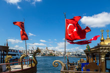 Turkish Flags On Boats Against...