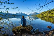 Adventurer At Lake McDonald In...