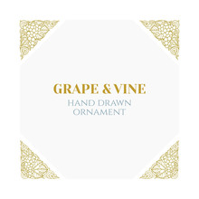 Grape And Vine Frame.  Hand Drawn Grape Bunch Engraving Style Frame. Bunch Of Grapes Sketch Drawing Corner Ornaments. Part Of Set.