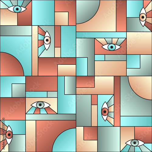 Hipster pattern with eyes in geometric shapes grid mondrian avant garde fashion textile print Canvas Print