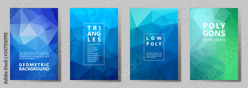 Valokuva Facet polygonal abstract cover pages, low poly set
