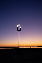 Street Lamp During Blue Hour In Douro River Estuary, Porto, Portugal