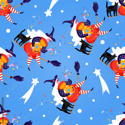 Seamless pattern with icons of Befana Fotobehang