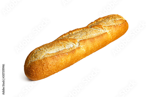 Photo Fresh French baguette on white background