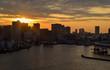 Skyline city Tokyo Bay Sunset