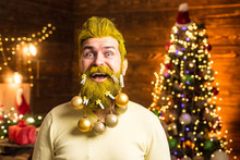 New Year, Christmas Card. Attractive Caucasian Bearded Hipster. Handsome Stylish Bearded Man. Trendy, Shopping Sale And Discounts.