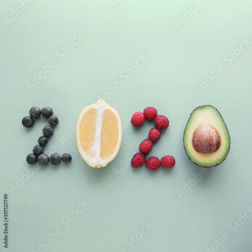 Obraz 2020 made from healthy food on pastel background, Healthy New year resolution diet and lifestyle - fototapety do salonu