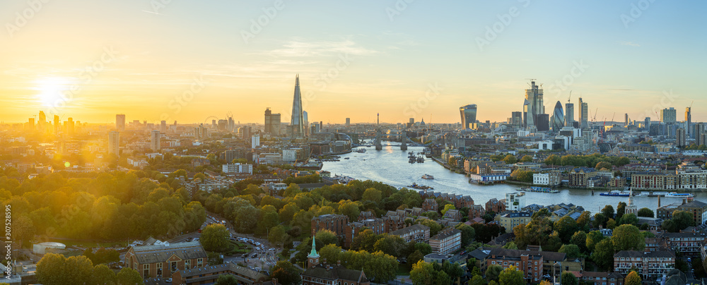 Fototapeta Aerial view of the City of London at sunset