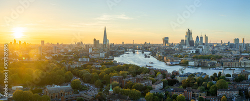 Aerial view of the City of London at sunset Wallpaper Mural