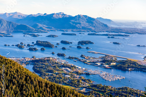 View of town, harbor, island, forest Fototapet