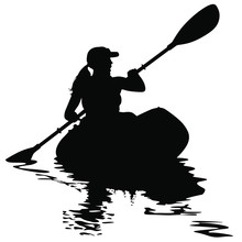 A Vector Silhouette Of Woman Kayaking.