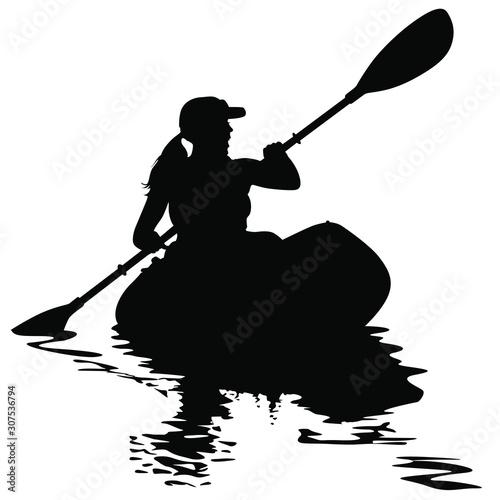 Vászonkép A vector silhouette of woman kayaking.