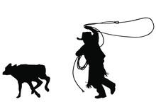 A Vector Silhouette Of A Young Cowboy Roping A Calf