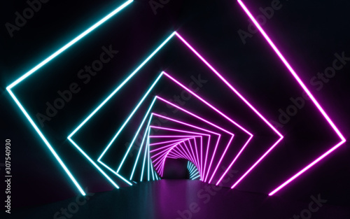 Futuristic Sci Fi blue and purple neon tube lights glowing. 3D rendering