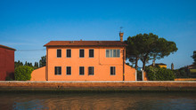 Colourful Houses On Island Of Mazzorbo, Near Burano, Venice, Italy