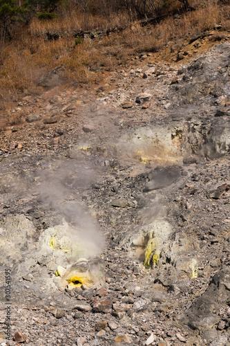 Fotografie, Obraz 宮城鳴子の酸性湖潟沼にある噴気孔