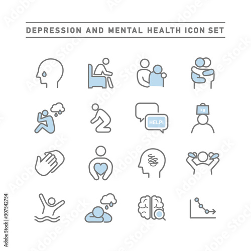Photo DEPRESSION AND MENTAL HEALTH ICON SET
