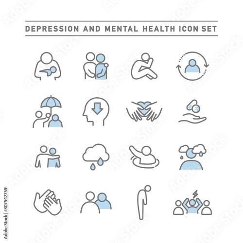 Carta da parati DEPRESSION AND MENTAL HEALTH ICON SET