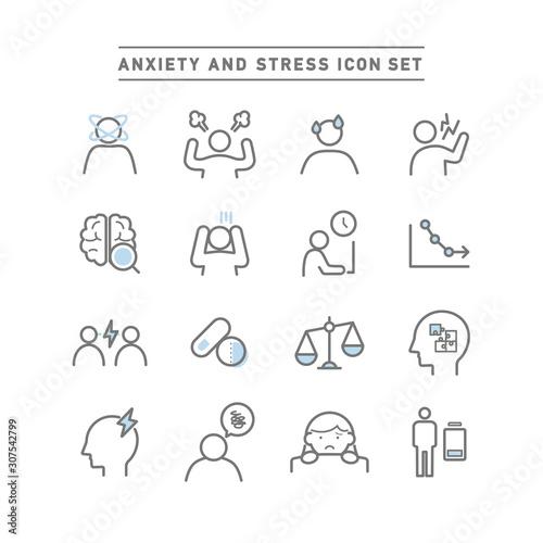Fotografie, Obraz  ANXIETY AND STRESS ICON SET