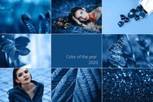 Blue Collage. Color Of The Year. 2020 Different Photos